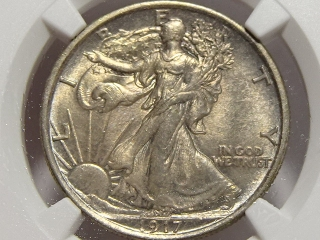 1917-D Walking Half MS62 NGC (Reverse Mintmark)