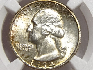 1934-D Washington Quarter MS62 NGC Medium Motto