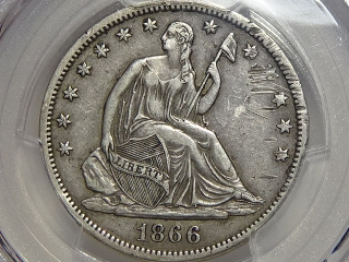1866-S Seated Half Dollar XF Details PCGS No Motto