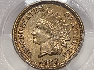 1863 Indian Cent MS64 PCGS
