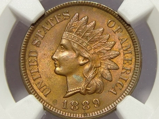 1889 Indian Cent MS63 RB NGC