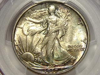 1917-S Walking Half MS64 PCGS Gold Shield (Reverse Mint Mark)