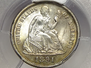 1891 Seated Dime MS64 PCGS