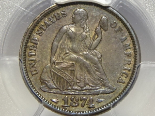 1874 Seated Dime XF45 PCGS