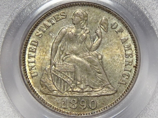 1890 Seated Dime MS64 PCGS