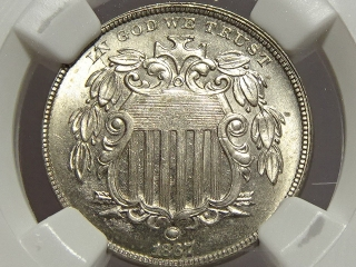 1867 Shield Nickel MS65 NGC (No Rays)
