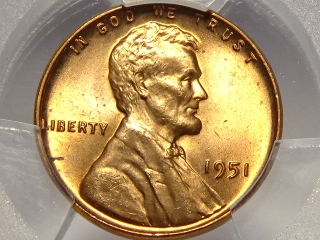 1951 Lincoln Cent MS65 PCGS Red