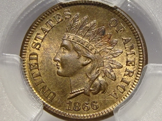 1866 Indian Cent MS64 RB PCGS Gold Shield