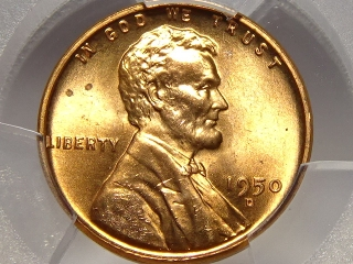 1950-D Lincoln Cent MS65 PCGS Red