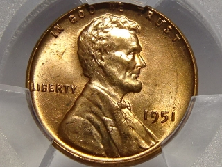 1951 Lincoln Cent MS65 Red PCGS