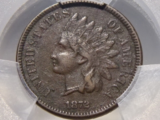 1872 Indian Cent VF Detail PCGS