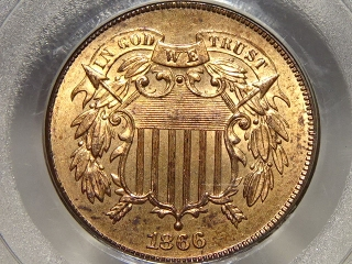 1866 Two Cent Piece MS65 Red PCGS